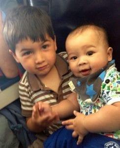 The boys on the flight back from Malta last year