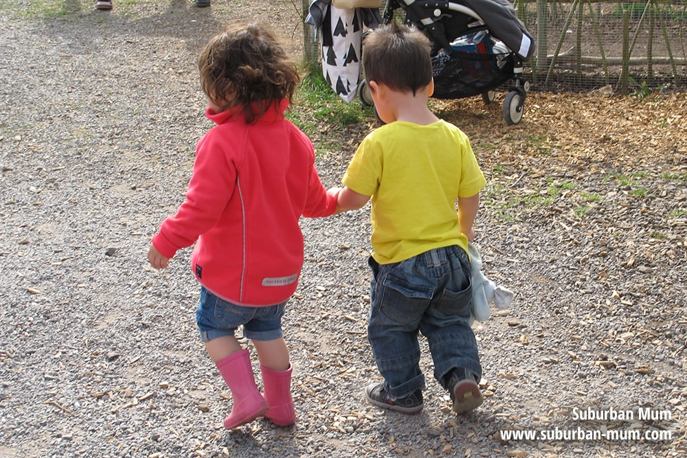 Holding hands at Bocketts Farm