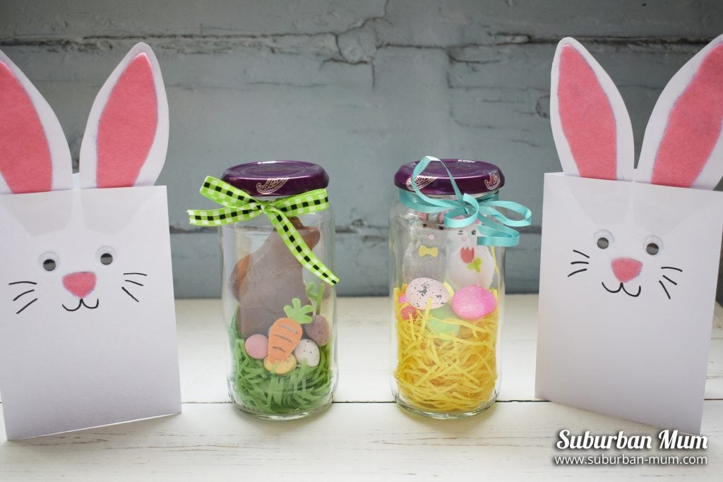 Easy Kids Easter Crafts - Bunny Cards and Easter Jars