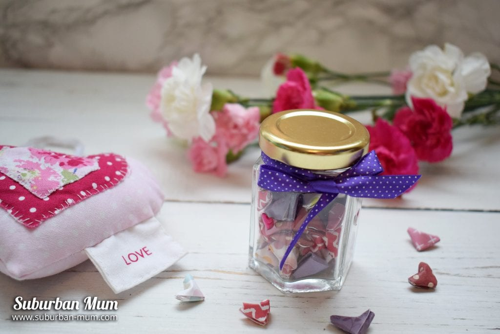 Origama Hearts in a Jar