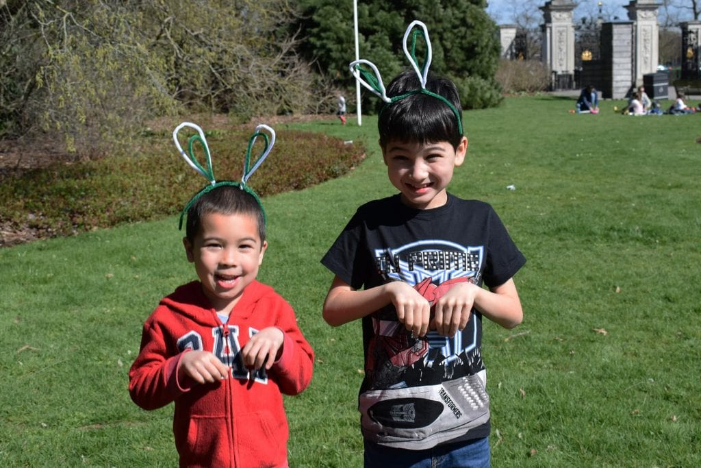 Boys with bunny ears at Kew Gardens