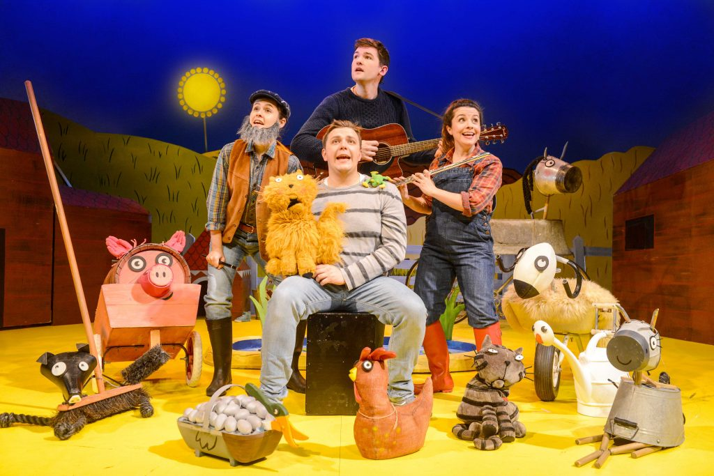What the Ladybird Heard. Emma Breton (Farmer), Benedict Hastings (Raymond, Lanky Len), Emma Carroll (Lily, Ladybird), Edward Way (Eddie, Hefty Hugh). Credit – Robert Day_lowres