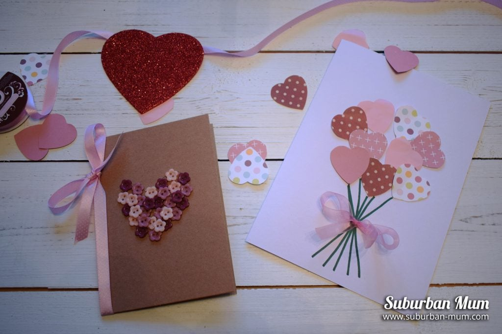 bouquet of hearts and a button heart card craft