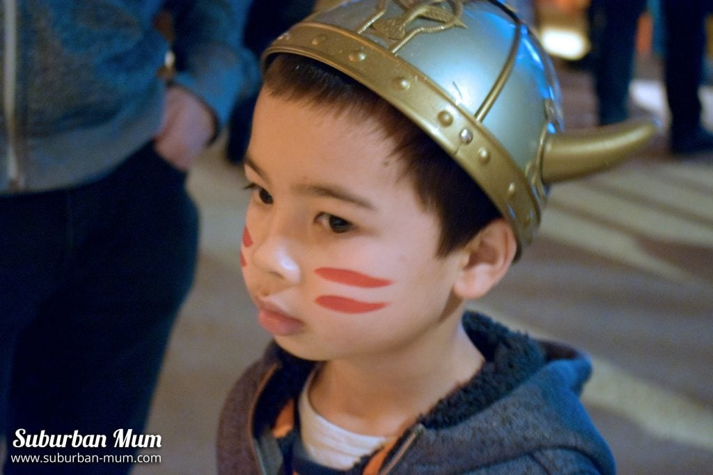 M with viking hat at How to Train Your Dragon screening