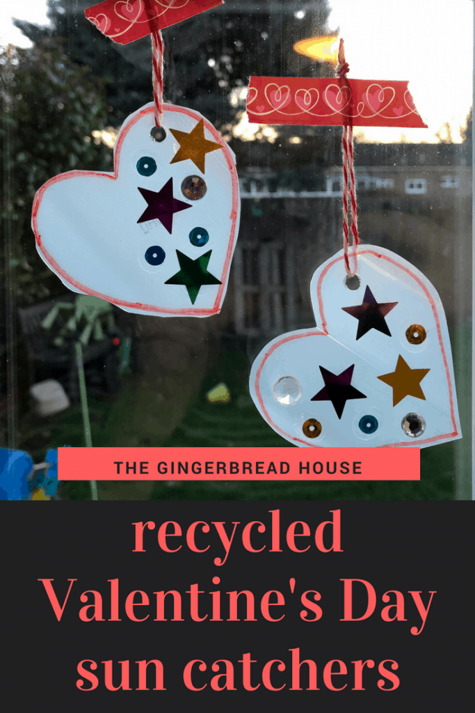 Recycled Valentine's Day sun catchers
