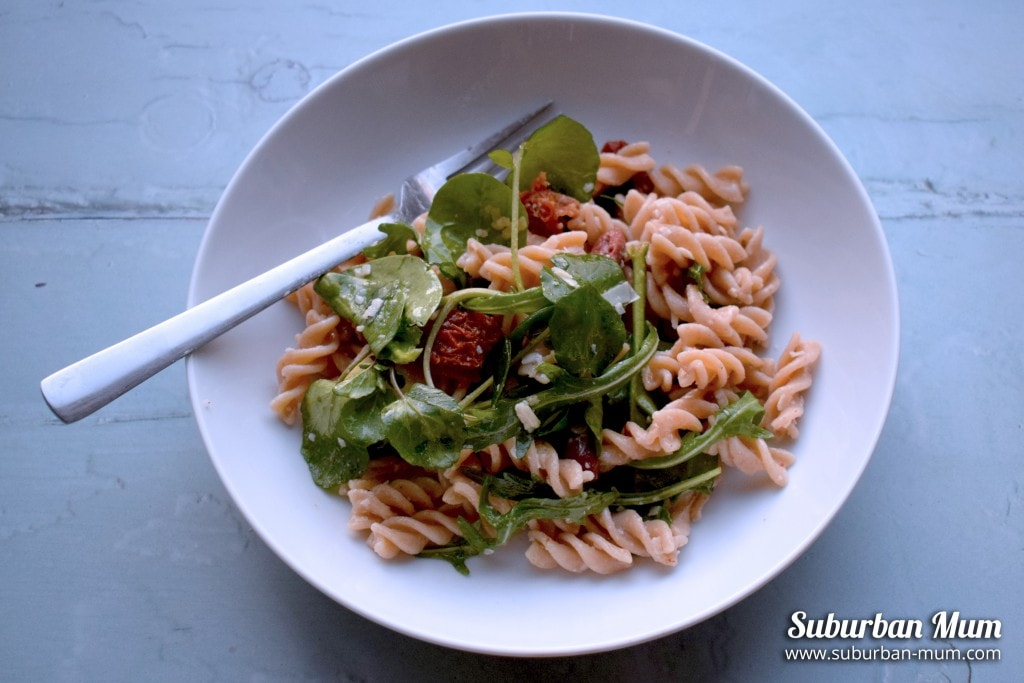Easy Pasta Salad with Artichokes, Olives and Sundried Tomatoes