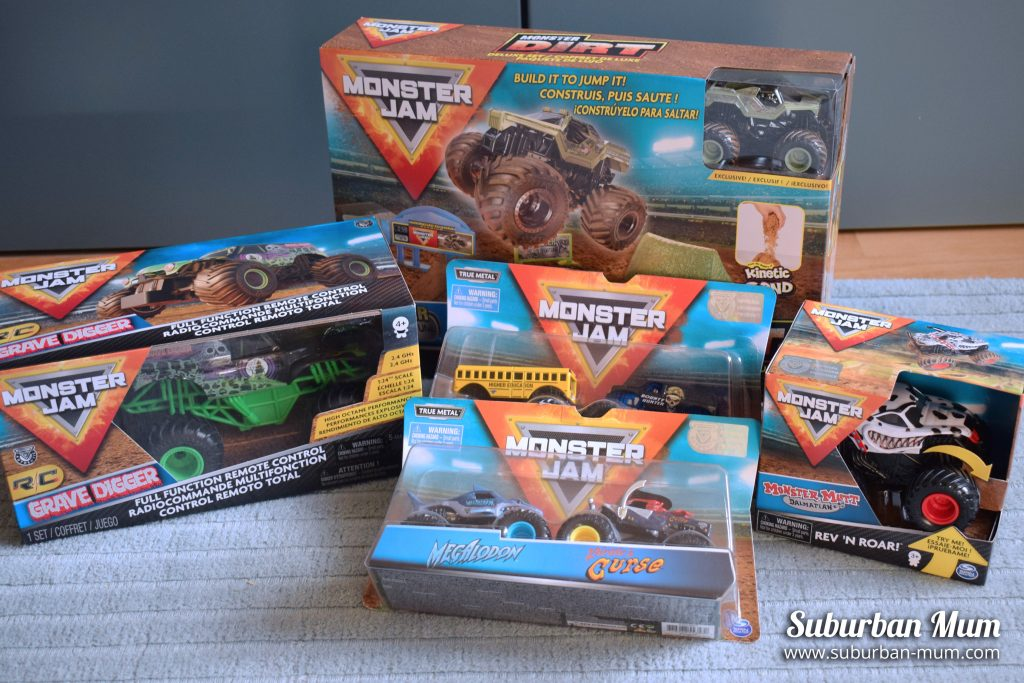 Selection of Monster Jam toys we were sent for review