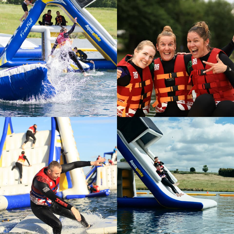 Action photos of Aqua Park fun, sliding down water slides and going on obstacle courses