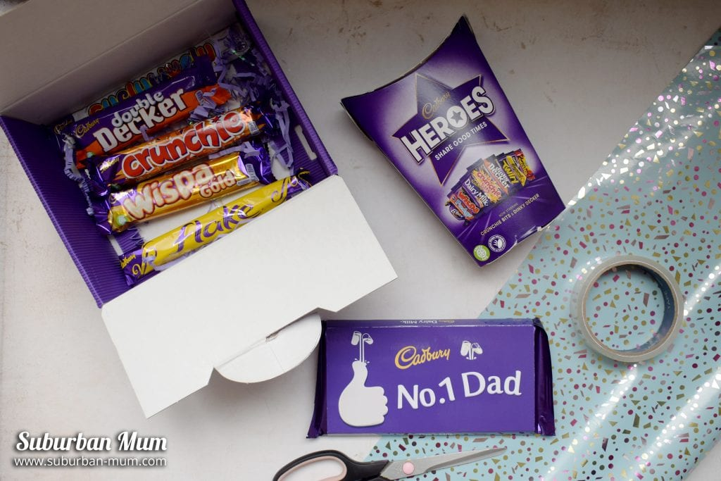 Cadbury's Dads Chocolate gift set with a selection of Cadbury's chocolate and Cadbury's Heroes