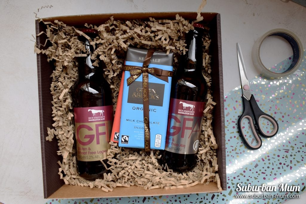 Green & Blacks Chocolate gift box with two Hambleton Gluten-Free Lager and Ale