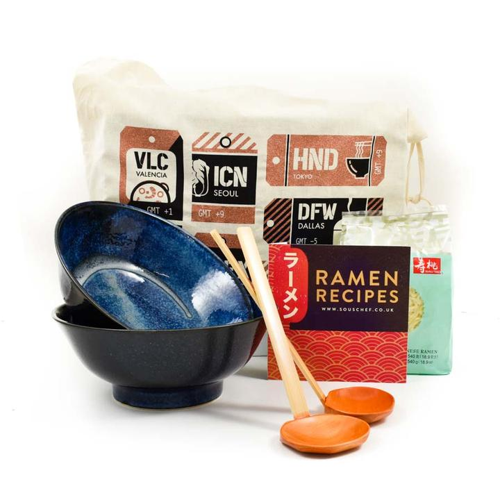 Japanese Ramen Bowl set with ladles and a ramen recipe book