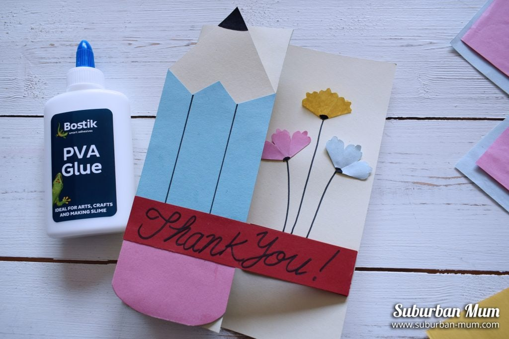 Hand made teacher thank you card with pencil and flowers