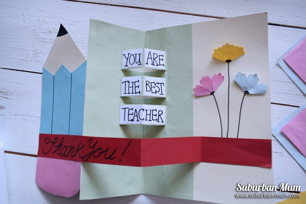 Hand made teacher thank you card with pencil and flowers, message inside reads You are the Best Teacher
