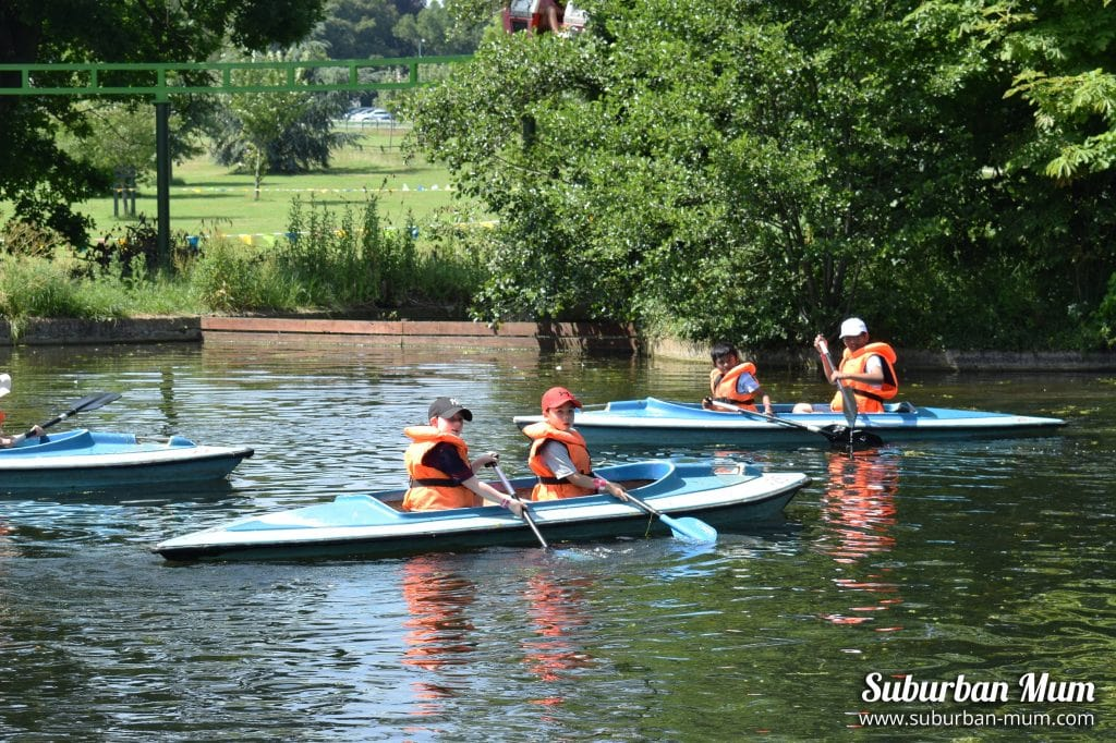 Children on canoes at Wicksteed Park