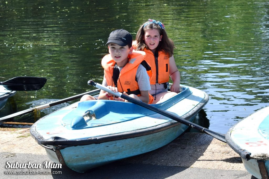 Children on a canoe at the Childrens Lakes, Wicksteed Park