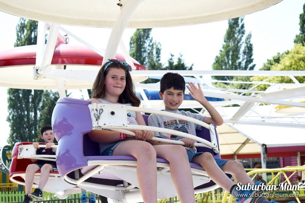 Children on the Paratroop ride at Wicksteed Park