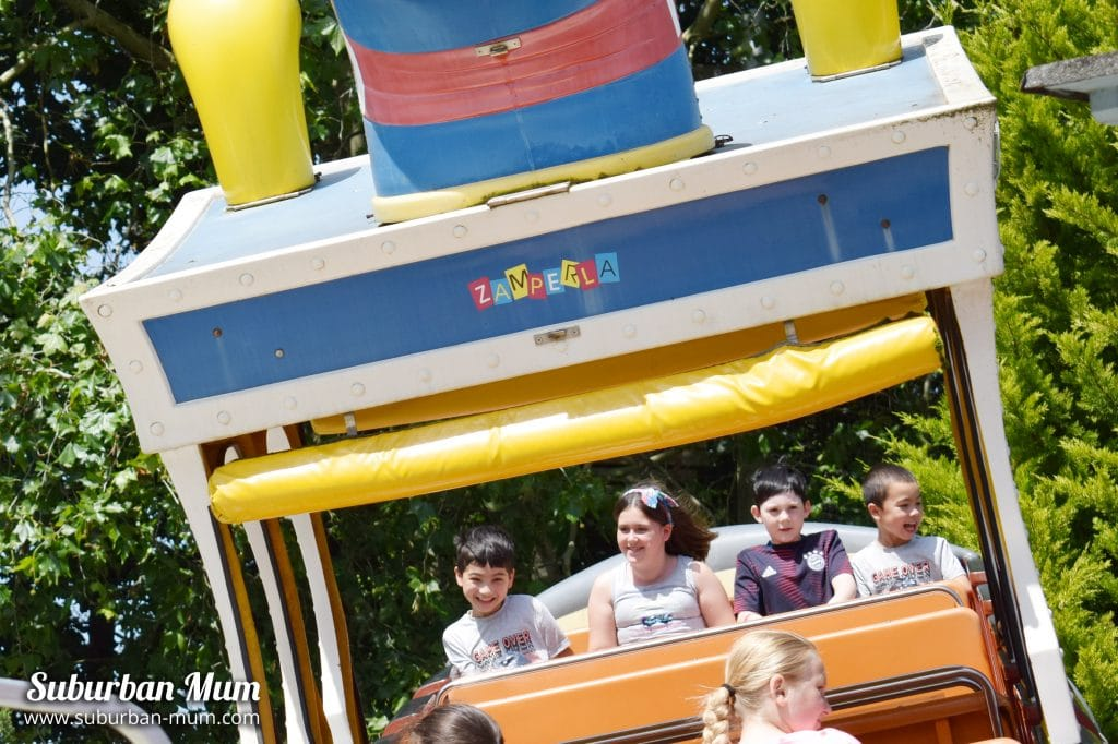 Children on the Rockin Tug ride at Wicksteed Park