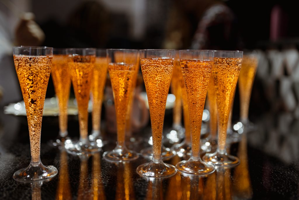 Champagne flutes filled with Golden Dram